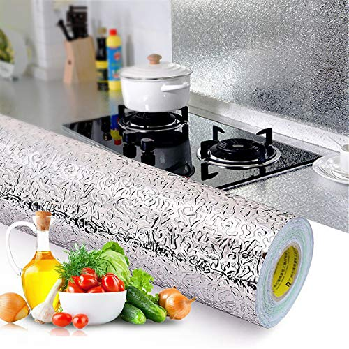 2 Stück Aluminiumfolie Küchentapete, 40cmx5m Selbstklebende Wasserdicht Beständiges Tapete Küchenherd Aufkleber für Küchen Arbeitsplatte Küchenwand Küchenschrank (Orangenhaut Textur)