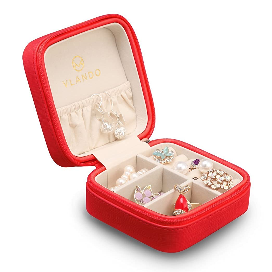 半導体シェルターポットVlando 正方形ジュエリーボックス ミニ宝石箱 携帯用 持ち運び トラベル ピアス ネックレス 指輪 リング アクセサリー 指輪置き ジュエリーバッグ 7色 (赤)