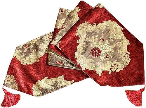 Unbekannt Dekorative Tabelle Flagge Chenille Blume Karte Gericht Mode Einfache Nordic Kaffee Bett Hochzeit Hotel Bankett 2 Farbe 30 cm  160 cm MUMUJIN (Farbe   rot, Größe   240cm)