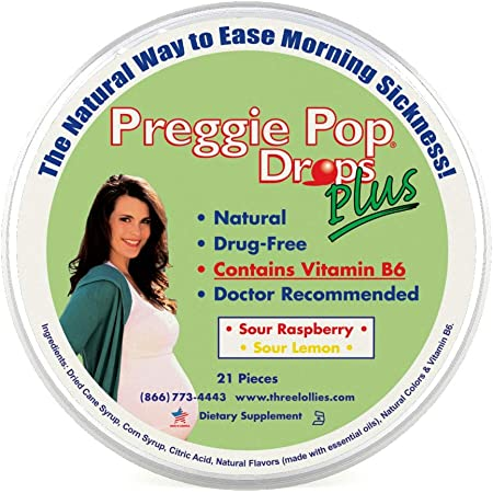 Preggie Pop Drops Plus | 21 Drops | Vitamin B6 for Morning Sickness & Nausea Relief during pregnancy | Safe for pregnant Mom & Baby | Gluten Free | Two Flavors: Lemon & Raspberry