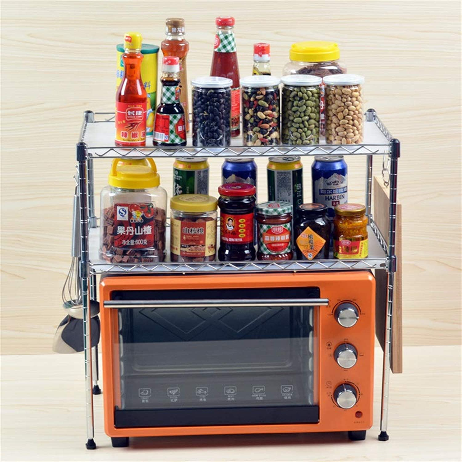 Space Saving Storage Racks Kitchen Shelf Microwave Oven Rack Kitchen Utensils Two-Layer Seasoning Storage Rack (Size   A)