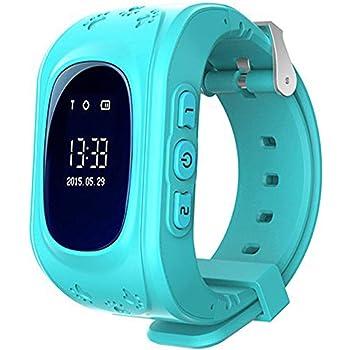 Enfants Smartwatch GPS Tracker - Poignet Montre Garçon Fille avec Anti-Perdu Regarder SOS Appel Chat Vocal Podomètre Réveil GPS Locator Téléphone Cadeaux Compatible avec iOS Android,Bleu foncé