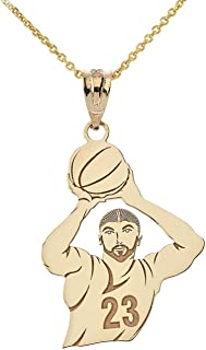 gold basketball necklace charm with number