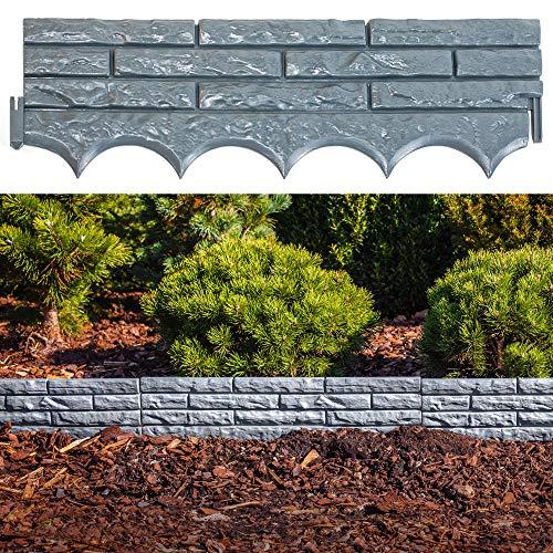 UPP Gartenmauer Stein   einsetzbar als Beetbegrenzung, Gartenpalisade, Sichtwand, Sichtschutz, Gartenzaun, Rasen-Begrenzung,Rasenkante,Blumenabgrenzung,Schneidkante,Mähkante   Inhalt: 5 Stk. = 2,90 m