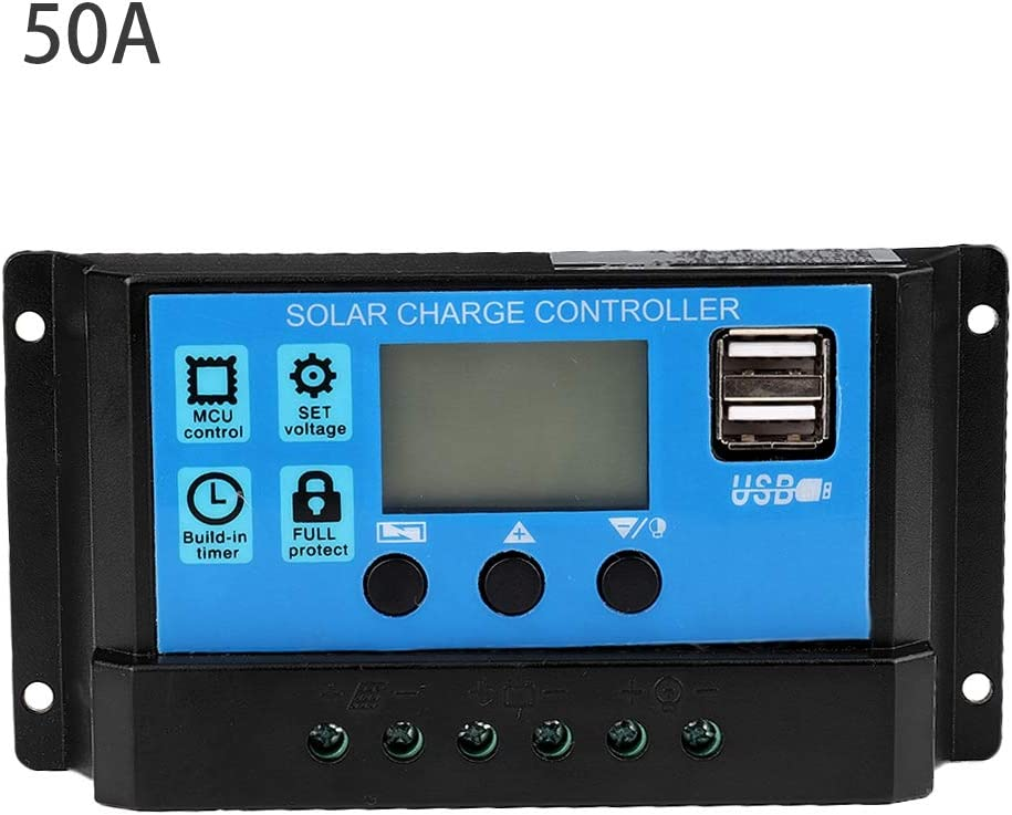 60A//50A//40A//30A//20A//10A 12V 24V ABS Controlador de carga solar autom/ático Controlador PWM Controlador de carga solar 30A