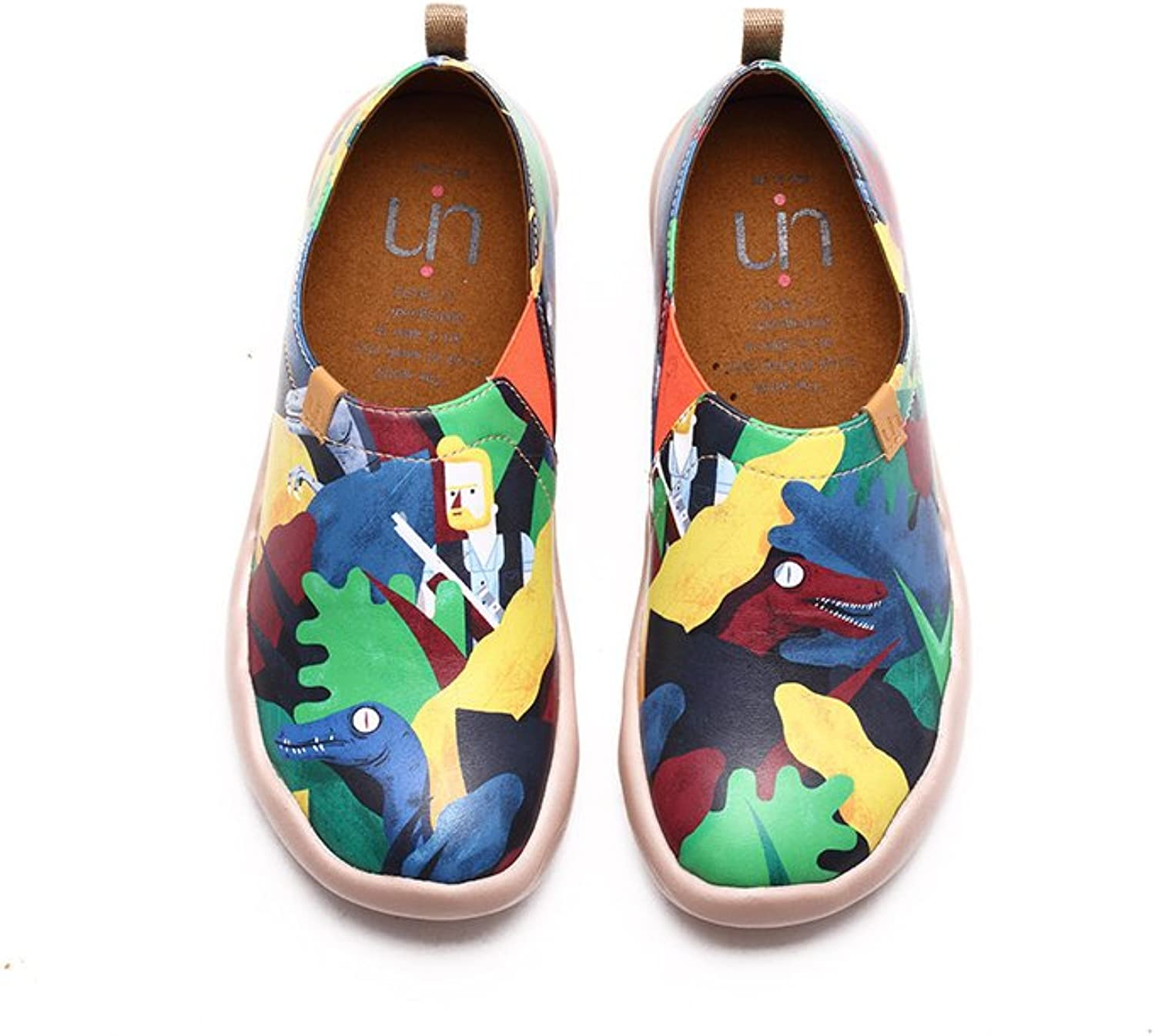 UIN Women's Jurassic Period Leather Painted Loafer shoes Multicolord