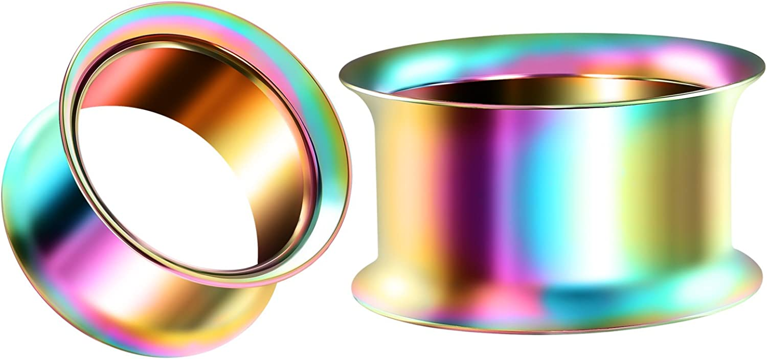 BIG GAUGES Pair of Surgical Steel 11/16 inch 18 mm Rainbow Double Flared Piercing Jewelry Stretcher Ear Ring Lobe Tunnel Plug BG1291
