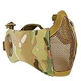 haoYK Schutzmaske, halbe Gesichtsmaske, faltbar, Metall und Netzgewebe, größenverstellbar, taktische Maske inkl. Ohrenschutz für Airsoft- und andere Schützen, Jäger, Paintball-Spieler, multicam