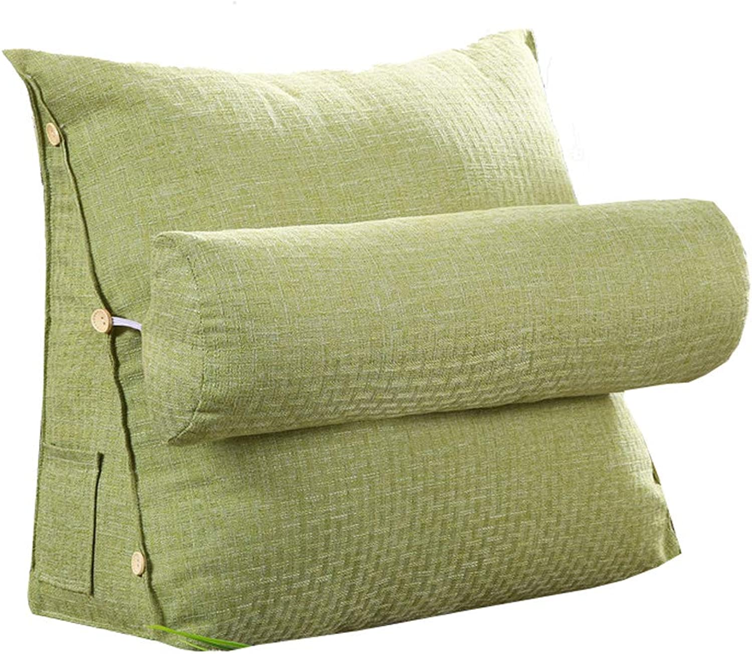 Triangle Cushion Cotton and Linen Back Lumbar Reading Pillow,Applicable to Sofa Office Chair Car (Removable) (color   Green, Size   60  50  20cm)