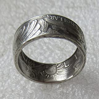 jooact Walking Liberty Coin Rings Sterling Silver Handcraft Ring Vintage Handmade from Walking Liberty Coin Men Bands