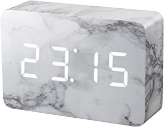 Gingko Brick LED Click Clock Rechargeable Alarm Clock with Sound Activation (Time, Date & Temperature), Marble/White LED