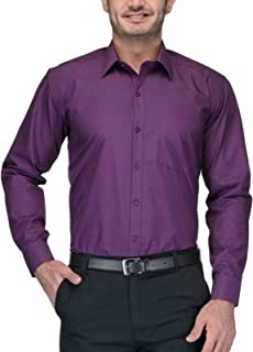 BEING FAB Men's Solid Cotton Blend Regular Fit Formal Purple Shirt