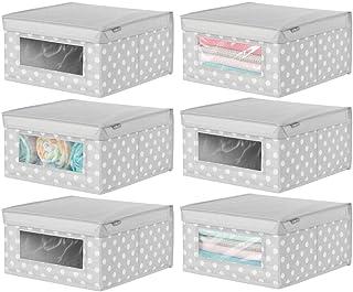 mDesign boîte de rangement en tissu (lot de 6) – panier de rangement empilable pour vêtements ou chaussures – bac de range...