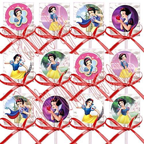 Snow White Party Favors Supplies Decorations Princess Lollipops w/ Red Ribbon Bows Party Favors -12 pcs