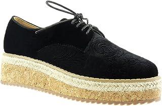3fb0a187044726 Angkorly - Chaussure Mode Derbies Espadrille Plateforme Femme Fleurs brodé  liège Talon compensé Plateforme 5 CM