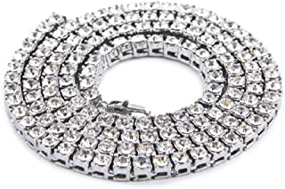 JRjewelry 14K Gold Plated Iced Out Tennis Chain Men's Hip Hop Necklace with Size and Color Selectable-DL223