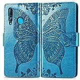Bravoday Handyhülle für Huawei Nova 4 Hülle, Stoßfest PU Leder Tasche Flip Hülle Schutzhülle für Huawei Nova 4, mit Kartenfäch und Kickstand, Blau