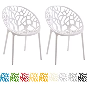CLP 2er Set Gartenstuhl Hope Aus Kunststoff I 2 x Wetterbeständiger Stapelstuhl Mit max. 150 KG Belastbarkeit, Farbe:weiß