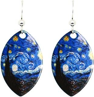 Starry Night Van Gogh Earrings by d'ears Non-Tarnish Sterling Silver French Hook Ear Wire
