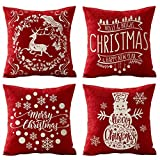 SOPARLLY Set of 4 Merry Christmas Holly Christmas Elk Snowflake Snowman Tree Pattern Pillows Cotton Linen Decorative Throw Pillow Case Couch Cushion Cover 18X18 inches