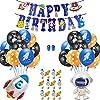 BigBoom誕生日 飾り付け 風船 40個 宇宙 ロケット 掛ける 水玉 ケーキ 飾り差し込み Happy Birthday バルーン パーティー 誕生日装飾セット 子供用(ギフト用ポンプ+リボン+バルーン造形クリップ)