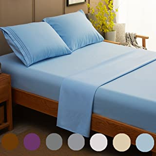 SONORO KATE Bed Sheet Set Super Soft Microfiber 1800 Thread Count Luxury Egyptian Sheets 21-Inch Deep Pocket Wrinkle and Hypoallergenic-4 Piece (Lake Blue, King)