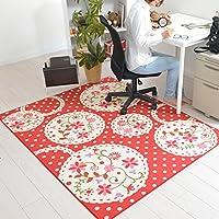 なかね家具 デスクカーペット 女の子 ラグマット 洗える デザインマット 花柄 かわいい ホットカーペット対応 110x133 レッド 178pamyi