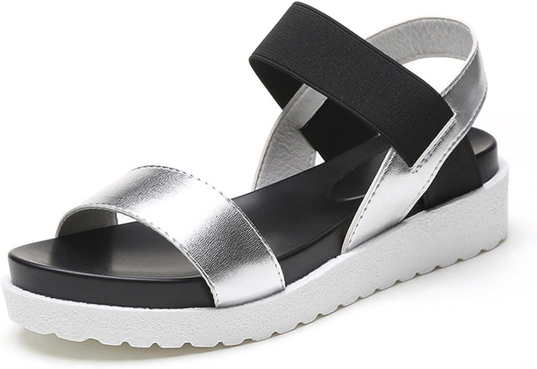 2018 New Sandals Women Summer Slip On Sandal Peep-Toe Flat Sandal Roman Sandals,Silver,7