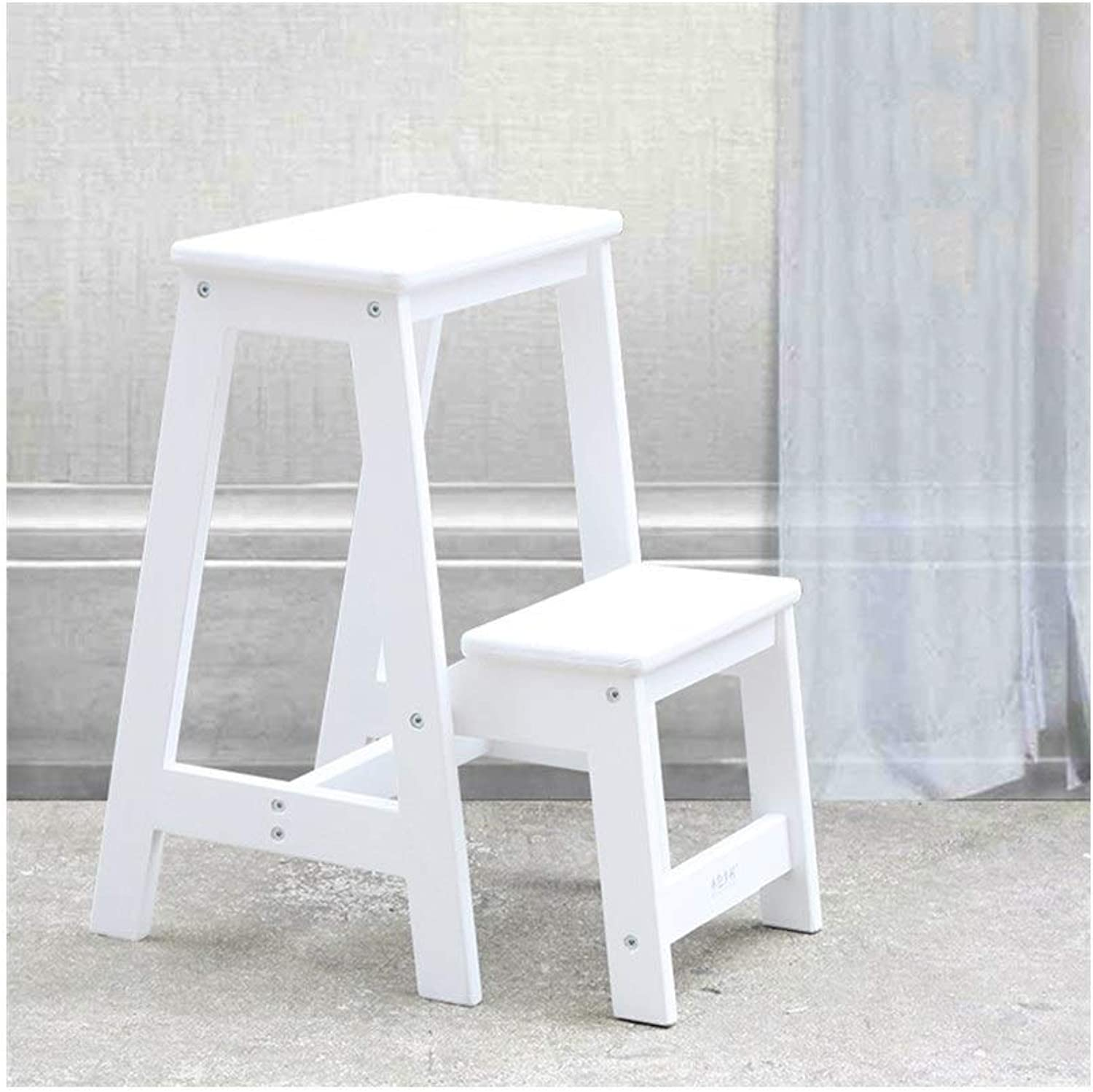 LXJYMX Home Folding Wooden Ladder, Multi-Purpose Staircase Chair, Ladder Stool, Indoor Ladder, Home Kitchen Stool. Climbing Ladder (color   White)