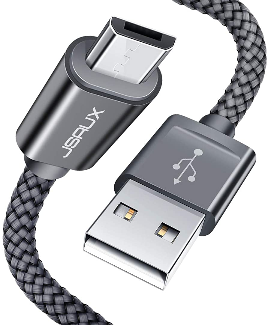 JSAUX Micro USB Cable Android, (2-Pack 6.6FT) Micro USB to USB A High Speed Sync Charger Nylon Braided Cord Compatible Samsung Galaxy S6 S7 Edge J7 Note 5,Kindle,LG,Xbox,PS4,Camera,Smartphones(Grey)
