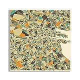 Bndsey Mapa Abstracto de la Ciudad de Barcelona, Imagen para decoración del hogar, Pintura en Lienzo nórdico, Carteles e Impresiones artísticos de Pared 40x40cm