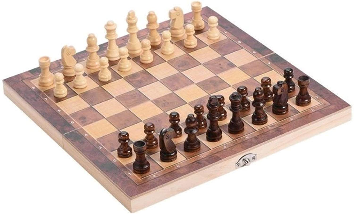 BEITAI 3 in 1 Portable Wooden Chessboard Folding Board Chess Game International Chess Set for Party Family Activities ( Size   34 x 34cm )