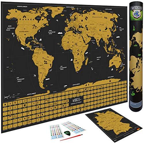 WIDETA Weltkarte zum Rubbeln mit Länderflaggen/Poster XXL (82 x 60 cm), Bonus Deutschlandkarte und Zubehöre