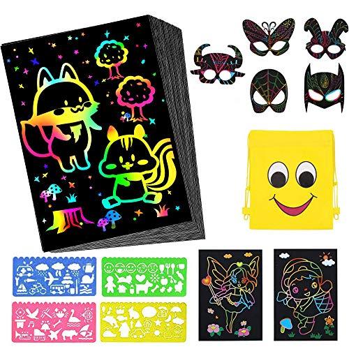 Dessin Carte à Gratter pour Enfants,Coolba 52 Feuille Noir a Gratter Magique et Masques d'animaux Papier Carte à Gratter avec 4 Règles de Gabarit Pour Dessins,Écriture,Jeux,Scratch Art Dessin Gratter