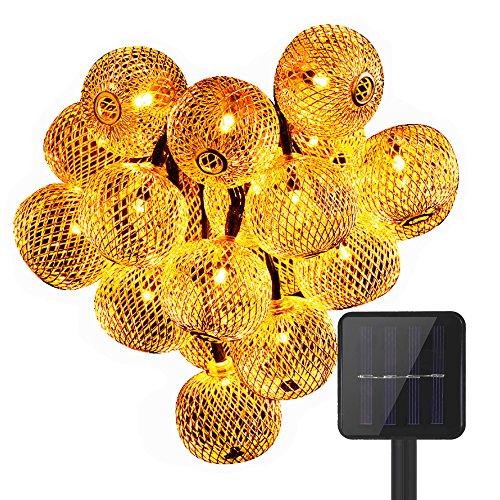 KEEDA 20 Lumières de Noël Extérieures Imperméables, Lumières Extérieures D'arbre Solaires Pour le Jardin Accueil Décorations Mariage(Blanc Chaud)