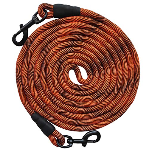 BTINESFUL Tie-Out Check Cord Long Rope Dog Leash, 12ft 20ft 30ft 50ft Recall Training Lead Leash- Great for Large Medium Small Dogs Training, Playing, Camping, or Backyard (12ft, Orange Black)