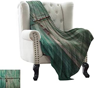 Knit Blanket Industrial,Aged and Closed Door with a Lock Close Up View in Retro Style Entrance Photo, Green Brown Winter Luxury Plush Microfiber Fabric 70