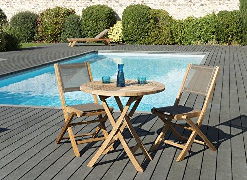 MACABANE 509606 Salon de jardincouleur Naturel/Taupe en Teck et Textilène Dimension
