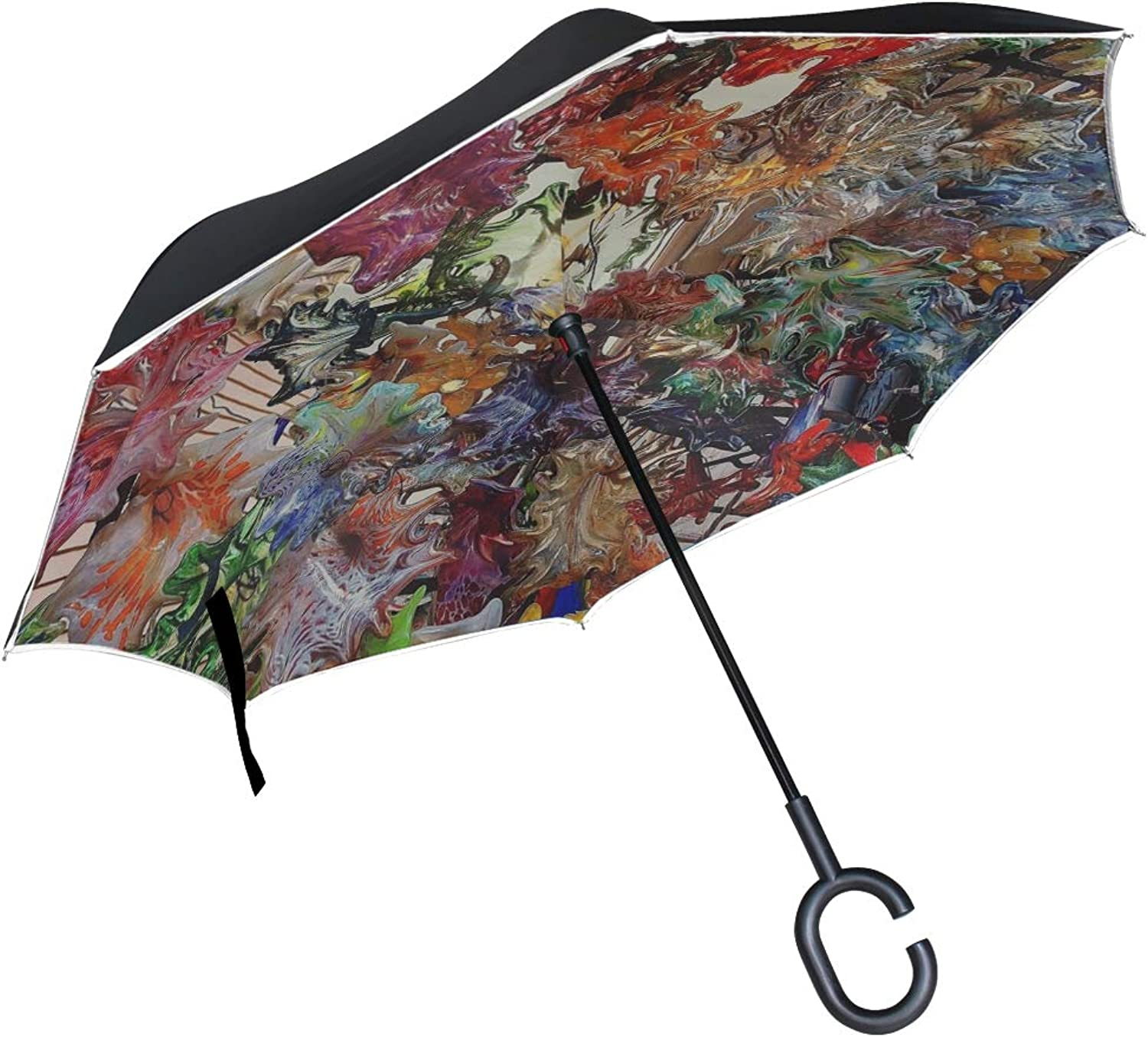 Double Layer Ingreened Glass Flowers Decoration colorful New Orleans Umbrellas Reverse Folding Umbrella Windproof Uv Predection Big Straight Umbrella for Car Rain Outdoor with CShaped Handle