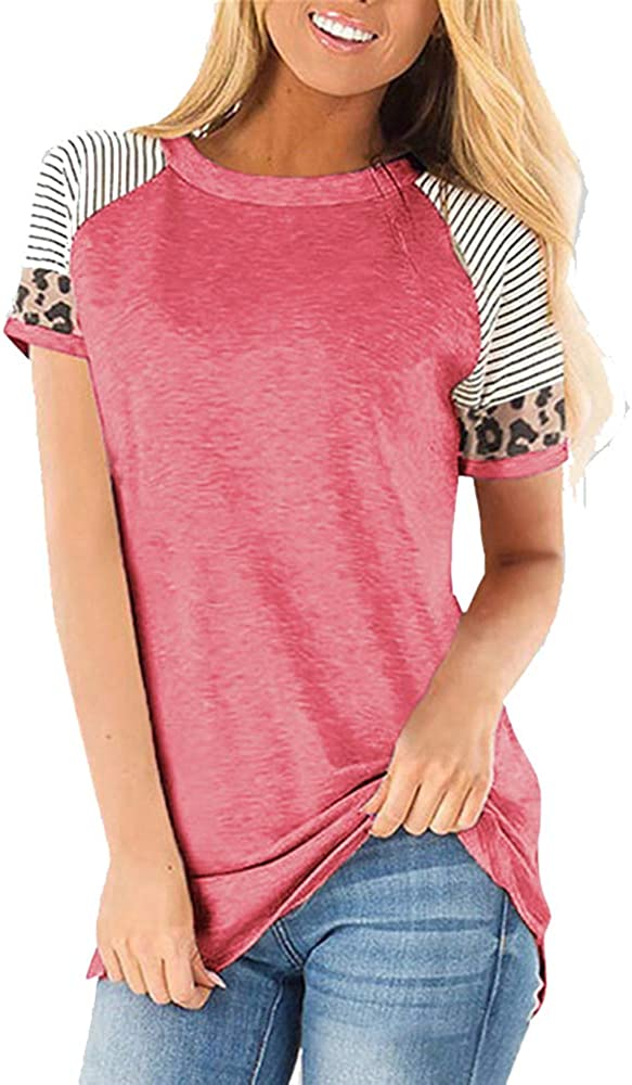 Yousify Women Leopard Print Tunic Top Casual T Shirt Short Sleeve Crewneck Striped Tee Pullover Blouse