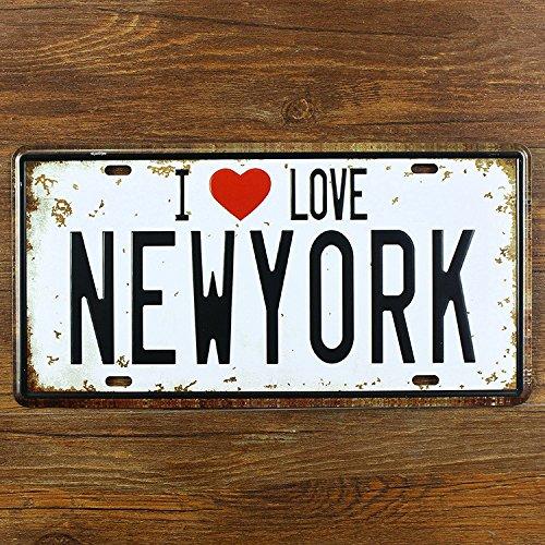 "Easybuyerz - Targa da parete in metallo con scritta ""I love new york, stile vintage"