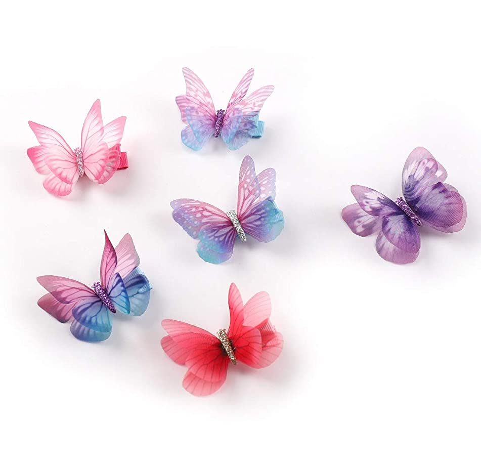Rosette Hair Colorful Chiffon Butterfly Modelling Hair Clips- Organza Wings Ribbon Wrapped Clips Sets (6pcs/set-1)