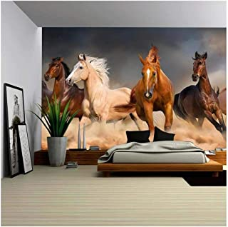 wall26 Horse Herd Run in Desert Sand Storm Against Dramatic Sky - Removable Wall Mural | Self-Adhesive Large Wallpaper - 66x96 inches