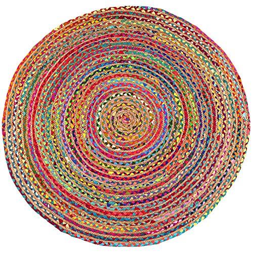 Eyes of India - 4a 8ft Redondo de Colores Yute Natural Chindi Sisal Tejido Área Trenzado Alfombra Boho Bohemio Indio - Multi, 4 ft. (120 cm)