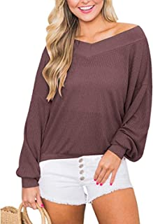 Oceanuslly Womens Waffle Knit Top V Neck Long Sleeve Loose Tunics Off Shoulder Pullover Sweater