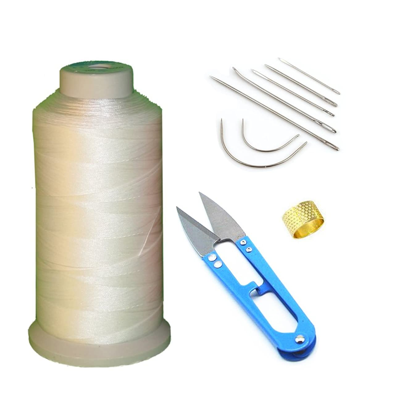 AntKits Bonded Nylon Sewing Thread, Curved Needles, Scissors and Thimble Tools Kits (White)