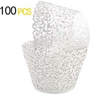 GOLF 100Pcs Cupcake Wrappers Artistic Bake Cake Paper Filigree Little Vine Lace Laser Cut Liner Baking Cup Wraps Muffin CaseTrays for Wedding Party Birthday Decoration (White)