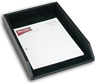 Dacasso Classic Black Leather Legal Letter Tray