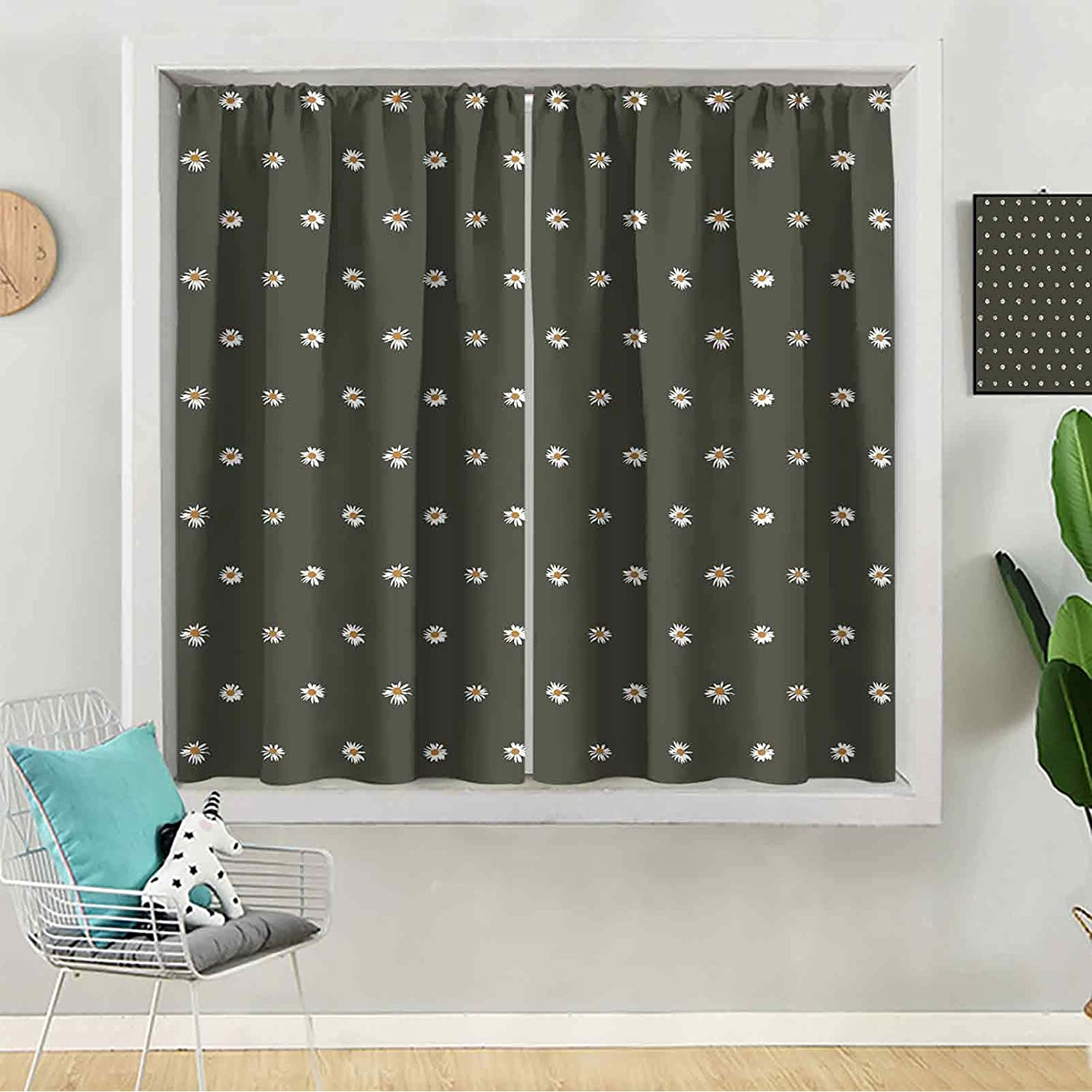 Bedroom Blackout Curtains Seamless Pattern Daisy Bl Max 64% OFF Max 44% OFF on of White