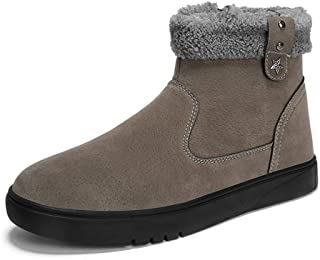 AMAZACER Men's Stylish Snow Boots Casual Wrap Side Zipper Winter Faux Fleece Inner Home Shoes (Color : Black White, Size : 7.5 UK) (Color : Khaki, Size : 7.5 UK)